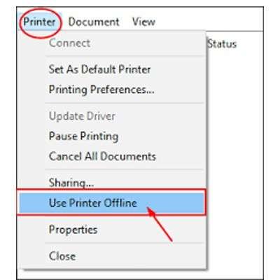 kyocera printer offline